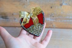 ceramic christmas ornament heart ornament red and by BottegaKrua