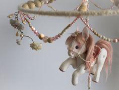 DIY mobile - use silver rocking horse?   Baby Girl Mobile Parisian Carousel felt pony horse by ALTARTSTUDIO