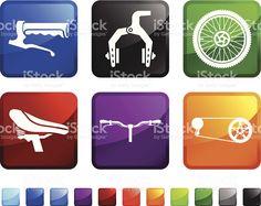 Bicicleta partes royalty free ícone conjunto de adesivos vetor vetor e ilustração royalty-free royalty-free