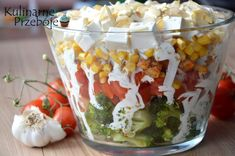 Sałatka warstwowa z brokułem i kurczakiem Polish Recipes, Good Healthy Recipes, Tortellini, Feta, Salad Recipes, Food Porn, Food And Drink, Cooking Recipes, Lunch