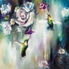 Katy Jade Dobson Art 'Hummingbirds' oil painting