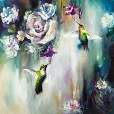 Katy Jade Dobson Art 'Hummingbirds' oil painting