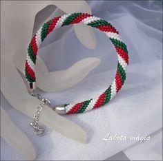 7cd36708d0 Népi és magyaros ékszerek | Nemzetiszín karkötő horgolva | Lakota mágia  ékszerek Hoop Earrings