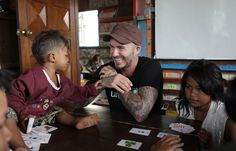 The former footballer met with young children who have been affected by violence