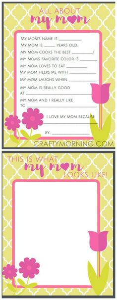 All About Mom or Grandma Questions- Free Mother's Day Printables for kids to fill out!