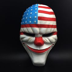 Resin Mask Resin Payday 2 Cosplay Top Grade Resin Clown Valuable Masks USA Flag Halloween Masquerade Collector's Edition D-004