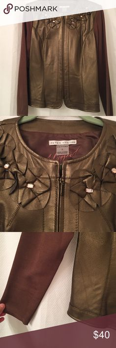 Brown leather jacket with embellished neckline Brown quilted leather jacket with rayon nylon sleeves. Worn once. Like new. Peter Nygard Jackets & Coats
