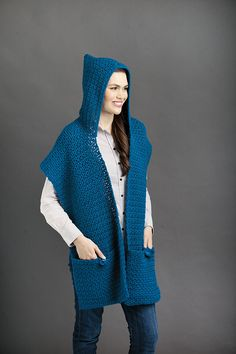 Feature pockets and sometimes a hood, these shawls are true comfort fashions! Each is sized for adult and child, and two include doll size. Stay cozy and keep your cell phone and other small items han