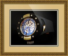 "Invicta S1 Racer Skeleton Watch // Paper: enhanced matte; Glazing: acrylic; Moulding: gold, arqadia gold carved; Top Mat: tan, sea foam; Middle Mat: black/gray, noir; Bottom Mat: tan, thatch // Price starts at $173 (Petite: 22.5"" x 24.5""). // Customize at http://www.imagekind.com/Invicta-S-Racer-Skeleton_art?IMID=d7624d75-d0bd-4020-927a-fbd286c52626"