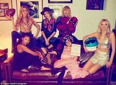 Party time:Taylor Swift threw a Halloween party combined with a birthday bash for some of her squad on Monday from L-Rmodels Gigi Hadid, and Kennedy Raye, Martha Hunt, Gigi Hadid Camila Cabello andLily Donaldson
