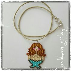 Fat Mermaid beaded necklace, brick stitch, miyuki sead beads