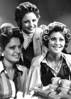 Miss Spain, Miss Iceland and Miss Israel happily pose for photographers in their hairnets and curlers Miss World Sleep Roller, Roller Set, Miss World 2013, Vintage Hair Salons, Megan Young, Sleep In Hair Rollers, Gal Got, Beautiful Inside And Out, Retro Hairstyles
