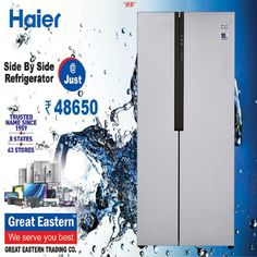 Who doesn't like a stylish kitchen? And what enhances your kitchen look if not appliances? Well, The Great Eastern Trading Company brings to you this Haier Side by Side refrigerator. Purchase this piece of beauty and utility at only Rs. 48,650/- Visit your nearest GREAT EASTERN TRADING CO store right away! . . . #greateastern #greateasterntrading #haier #haierappliances #refrigirator #summer #offer #discount #shopnow Side By Side Refrigerator, Stylish Kitchen, Trading Company, Appliances, Store, Summer, Beauty, Gadgets, Accessories