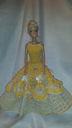 Crochet Barbie Ball Gown, Handmade Crocheted Fashion Doll Dress by GrandmasGalleria on Etsy
