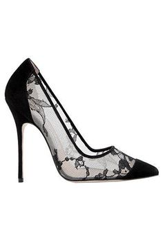 Manolo Blahnik Black Lace Pumps Fall Winter 2013 #Manolos #Shoes #Heels #manoloblahnikheelsfallwinter