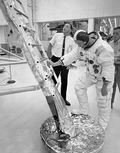 T-6 Days to launch: Armstrong at the foot of the mockup LM's ladder July 10, 1969