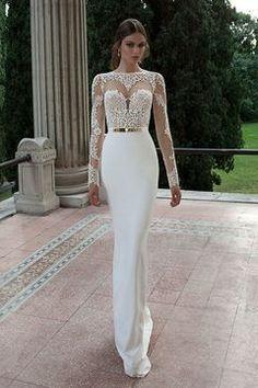 2016 Wedding Dresses Scoop Full Sleeves With Sash Sweep Train Backless € 182.15 SAPGZT49KH - schickeabendkleider.de for mobile