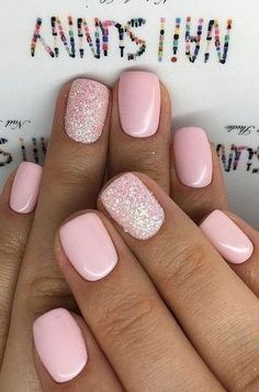 30 Newest Short Nails Art Designs To Try In 2020 - faceandhairhealth Short Gel Nails, Short Nails Art, Short Pink Nails, Nail Design Glitter, Glitter Nails, Nails Design, Really Cute Nails, Pretty Nails, Really Short Nails