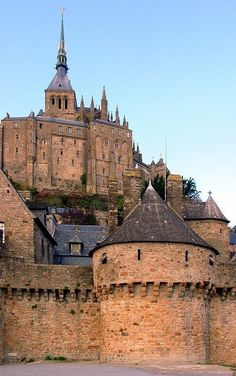 Medieval Castle, Mont-Saint-Michel in Normandy, France...