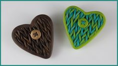 2 Good Claymates: Experimenting with a Faux Knitting Technique Polymer Clay Pendant, Fimo Clay, Polymer Clay Crafts, Polymer Clay Jewelry, Clay Extruder, Knitted Heart, Jewel Tone Colors, Yarn Shop, Wire Weaving
