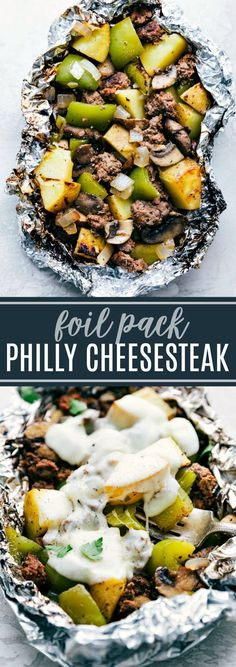The BEST easy tin foil dinner — foil pack philly cheesesteaks! Easy to assemble… The BEST easy tin foil dinner — foil pack philly cheesesteaks! Easy to assemble, filling, and delicious! Directions for campfire, grill, or oven! Tin Foil Dinners, Hobo Dinners, Foil Packet Dinners, Foil Pack Meals, Foil Packet Recipes, Camping Foil Dinners, Make Ahead Camping Meals, Backpacking Meals, Tin Foil Recipes