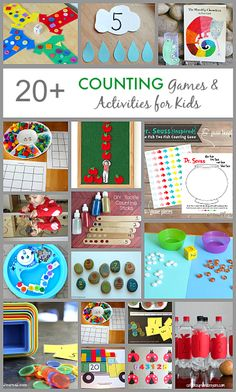 Counting Games and Activities for Kids: including math games inspired by Pete the Cat, Eric Carle, Dr. Preschool Learning, Kindergarten Math, Preschool Activities, Kids Learning, Learning Games, Quiet Toddler Activities, Space Activities, Learning Through Play, Teaching