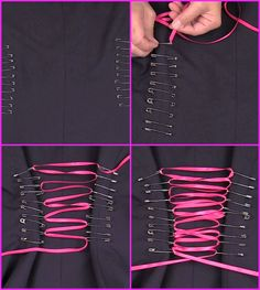 Safety Pin Corset : 4 Steps (with Pictures) fashion diy Safety Pin Corset Diy Fashion, Ideias Fashion, Fashion Outfits, Fashion Design, Safety Pin Art, Safety Pin Crafts, Safety Pins, Theme Halloween, Diy Clothing