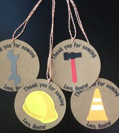 Construction Tools Thank You Tag for Goody Bag with Bakers Twine for Birthday Party or Baby Shower, Set of 8, $8.00