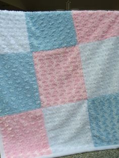 Baby Rose Minky Patchwork Quilt Baby Minky Blanket Pink by HotHats, $42.95