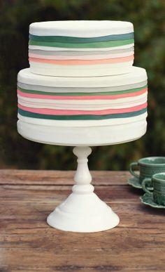 Pink Green and Orange Striped Wedding Cake