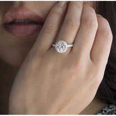 Moissanite forever brilliant 8mm round halo engagement diamond ring