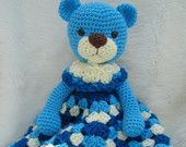 Baby Huggy Lovey Blanket Crochet Pattern by Teri Crews - Teddy Bear Huggy Blanket Crochet Security Blanket, Crochet Lovey, Crochet Bebe, Crochet Blanket Patterns, Free Crochet, Basic Crochet Stitches, Crochet Hook Sizes, Crochet Hooks, Manta Animal