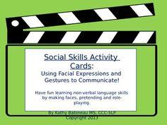 Social Skill Activity Cards: Use Facial Expressions and G