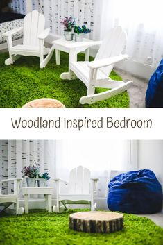 Woodland & Forest Inspired room decor | Woodland big kids rooms | White birch | Removable wallpaper | Kids Bedroom Inspiration | Woodland nursery decor | little girls room | little boys room | Unisex themed room decor | Kids Adirondack chairs #Kidsroom #Kidspiration