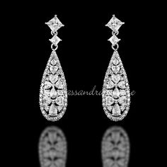Cubic Zirconia Earrings Heart Accented Teardrops