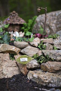 Fairy garden~Love the little acorn attached to the twig. A fairy garden street light... :D