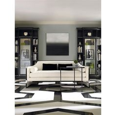 Octavio Modern Black Tuxedo Trim Ivory Sofa (13,965 ILS) ❤ liked on Polyvore featuring home, furniture, sofas, black and white couch, black sofa, black and white furniture, off white couch and ivory couch