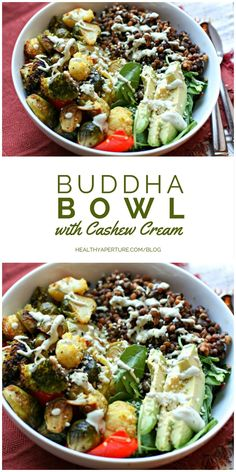 The ultimate vegetarian meal, this Buddha Bowl is topped with a delicious cashew cream.