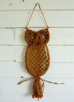 macrame owl | Vintage Jute Macrame Owl Wall Art Wooden Eyes by CampHoneybelle, $12 ...
