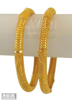 22k Gold Filigree Bangles (2pcs)