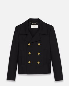 Saint Laurent DOUBLE BREASTED CABAN JACKET IN BLACK WOOL GABARDINE | ysl.com