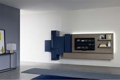 Appendo Hanging Unit IV by Sangiacomo, Italy in ash oak veneer and gloss blu scuro lacquer. Manufactured By San Giacomo.