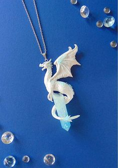 Polymer Clay - White Ice Dragon -Resin Crystal - Etsy - LittleBreezeCrafts