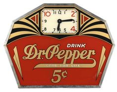 7 Examples of Art Deco Collectibles With Values - Coca Cola/Dr. Old Clocks, Antique Clocks, Vintage Clocks, Advertising Signs, Vintage Advertisements, Coca Cola, Pepsi, Dr. Pepper, Art Nouveau