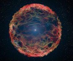 """Super-nova ( explosão de uma estrela ao """"morrer"""" ) encontrada pelo telescópio Hubble."""