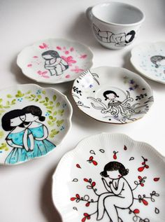 handpainted plates... by stasia burrongton