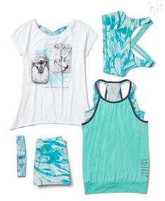 Our awesome activewear includes special pieces for dance and gymnastics, including printed sports bras and tees, tanks, shorts and more. *My daughter loves that she can buy so many pieces that color coordinate Cheer Outfits, Sporty Outfits, Athletic Outfits, Dance Outfits, Outfits For Teens, Summer Outfits, Cheer Clothes, Athletic Clothes, Gym Outfits