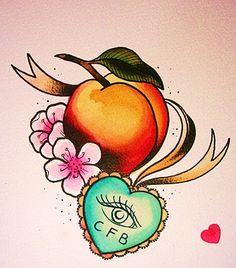 Peach Tattoo Meaning - Bing images Future Tattoos, New Tattoos, Body Art Tattoos, Tatoos, Sweet Tattoos, Girly Tattoos, Traditional Rose Tattoos, Traditional Roses, Envelope Tattoo