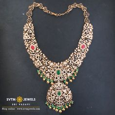Parigul Necklace Enhance your beauty with this gold semi long necklace flourished an encircled designs studded with ruby, emerald, and round brilliant diamonds and hung with gold balls. Jewelry Design Earrings, Gold Jewellery Design, Craft Jewelry, Hoop Earrings, Diamond Choker Necklace, Diamond Jewelry, Gold Jewelry, Trendy Jewelry, Gold Bangles