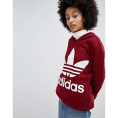 adidas Originals Trefoil Hoodie In Burgundy ($73) ❤ liked on Polyvore featuring tops, hoodies, red, sweatshirt hoodies, hoodie jersey, red jersey, retro jerseys and patterned hoody